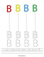 I can trace and color the letter B Handwriting Sheet