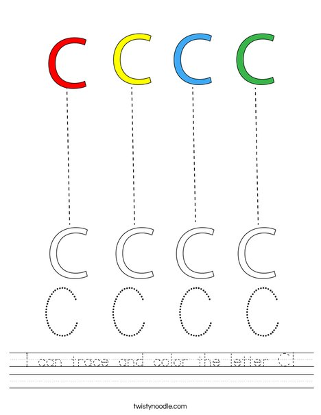 I can trace and color the letter C! Worksheet