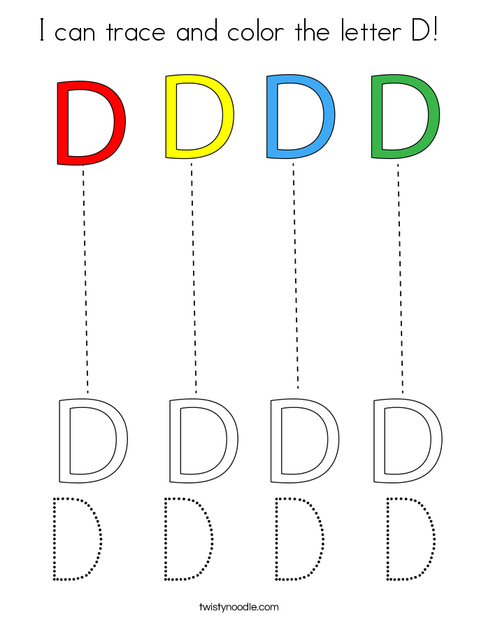 I can trace and color the letter D! Coloring Page