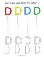 I can trace and color the letter D Coloring Page