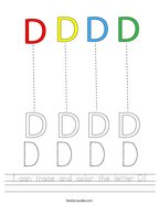 I can trace and color the letter D Handwriting Sheet