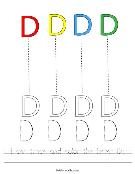 I can trace and color the letter D! Worksheet