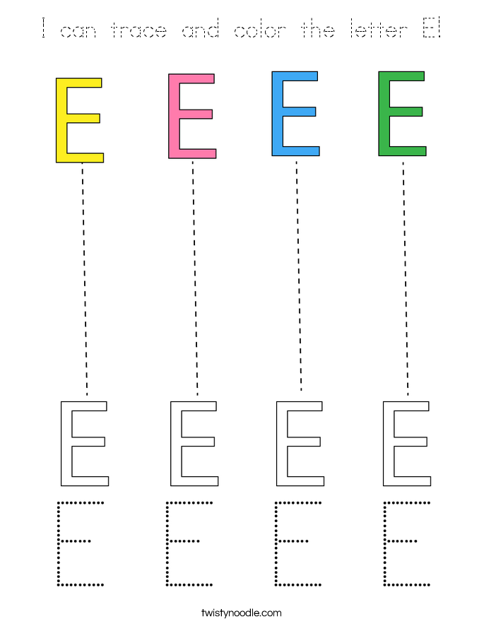 I can trace and color the letter E! Coloring Page