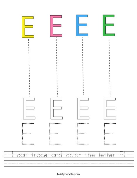 I can trace and color the letter E! Worksheet