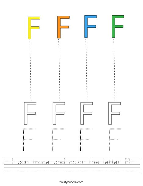 I can trace and color the letter F! Worksheet