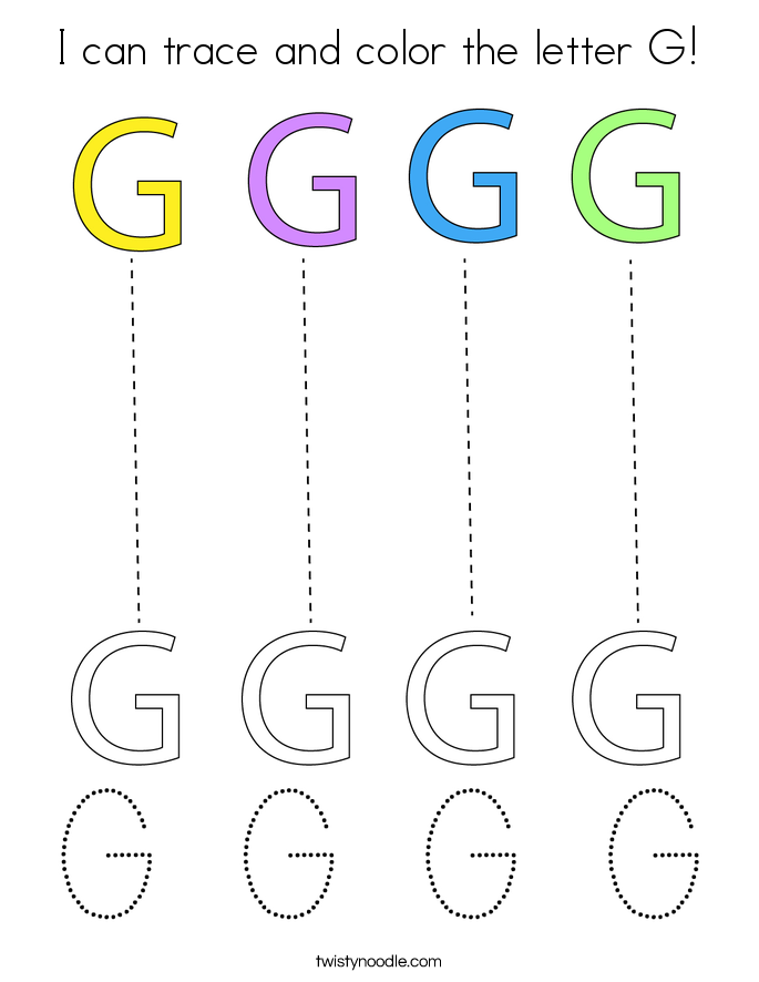 I can trace and color the letter G! Coloring Page