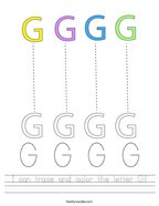 I can trace and color the letter G Handwriting Sheet