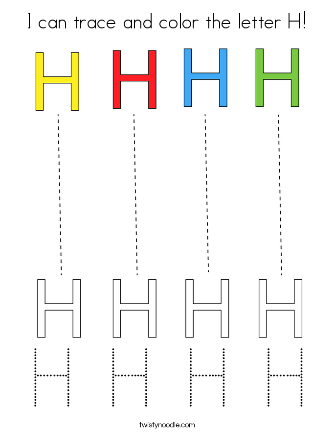 I can trace and color the letter H! Coloring Page