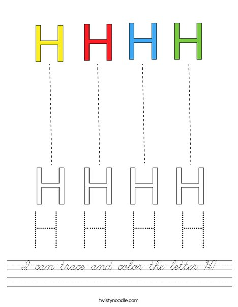 I can trace and color the letter H Worksheet - Cursive ...