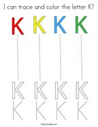 I can trace and color the letter K Coloring Page