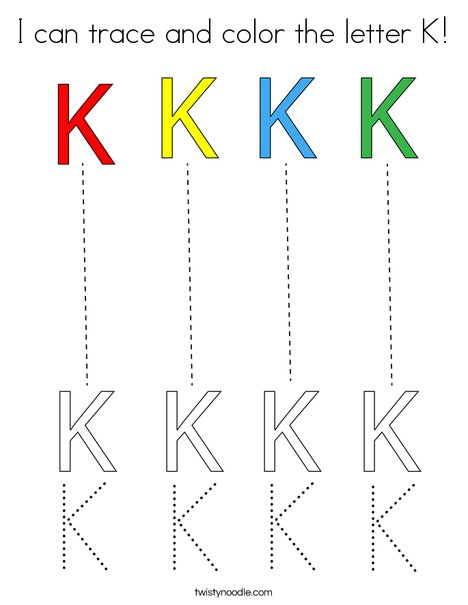 I can trace and color the letter K! Coloring Page