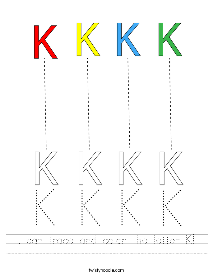 I can trace and color the letter K! Worksheet