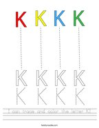 I can trace and color the letter K Handwriting Sheet