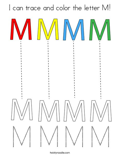 I can trace and color the letter M! Coloring Page