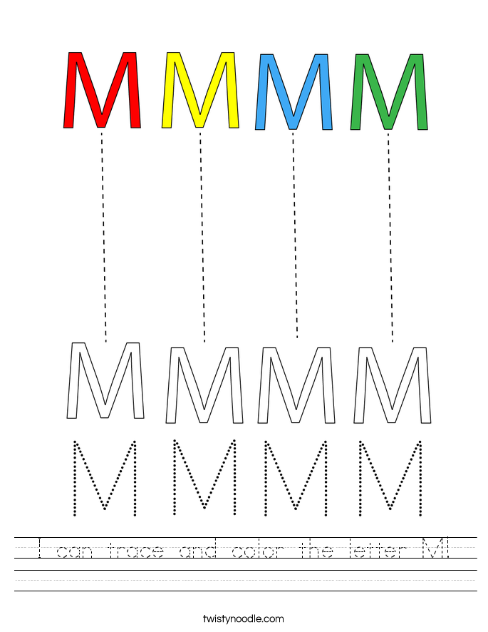 I can trace and color the letter M! Worksheet
