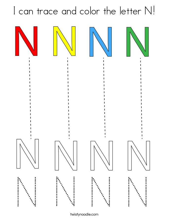 I can trace and color the letter N! Coloring Page