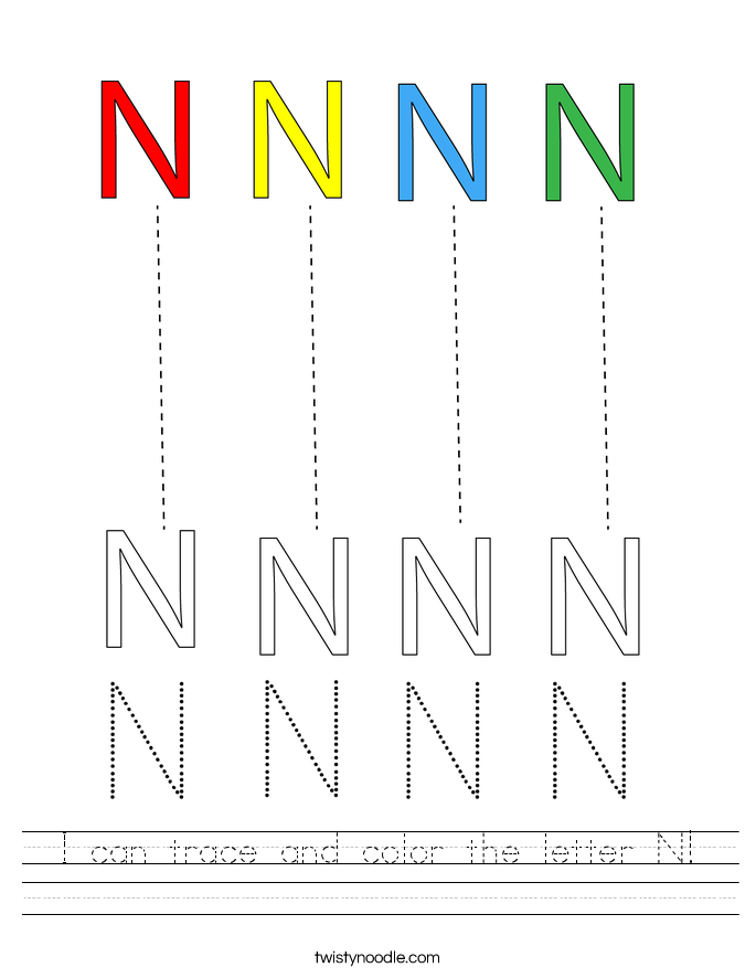 I can trace and color the letter N! Worksheet