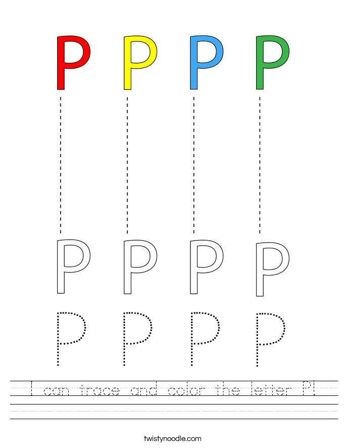 I can trace and color the letter P! Worksheet