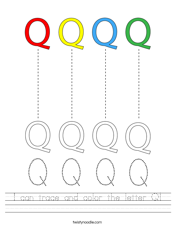 I can trace and color the letter Q! Worksheet