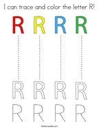 I can trace and color the letter R Coloring Page