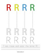 I can trace and color the letter R Handwriting Sheet