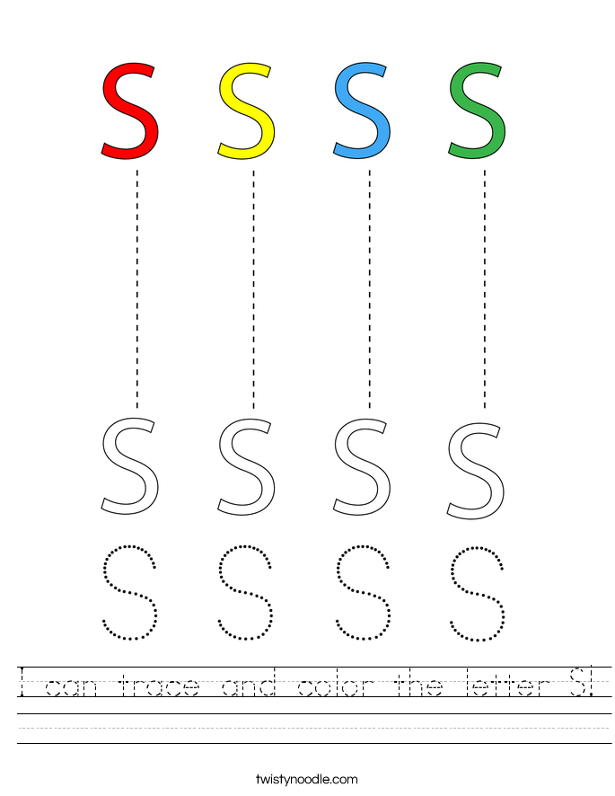 I can trace and color the letter S! Worksheet