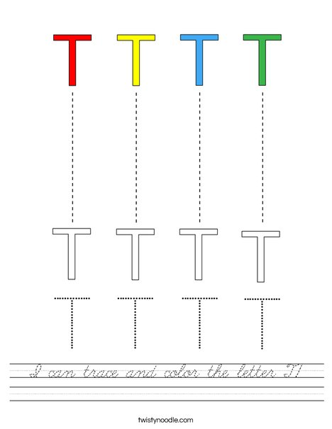I can trace and color the letter T Worksheet - Cursive ...