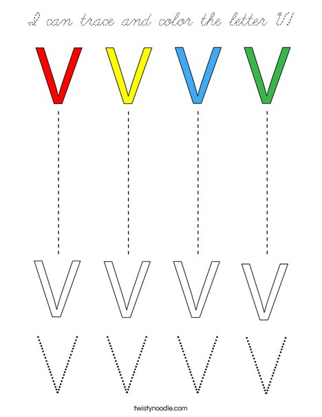 I can trace and color the letter V! Coloring Page