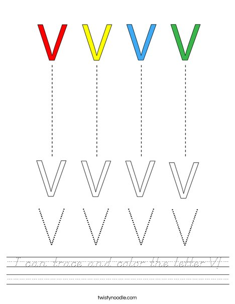 I can trace and color the letter V! Worksheet