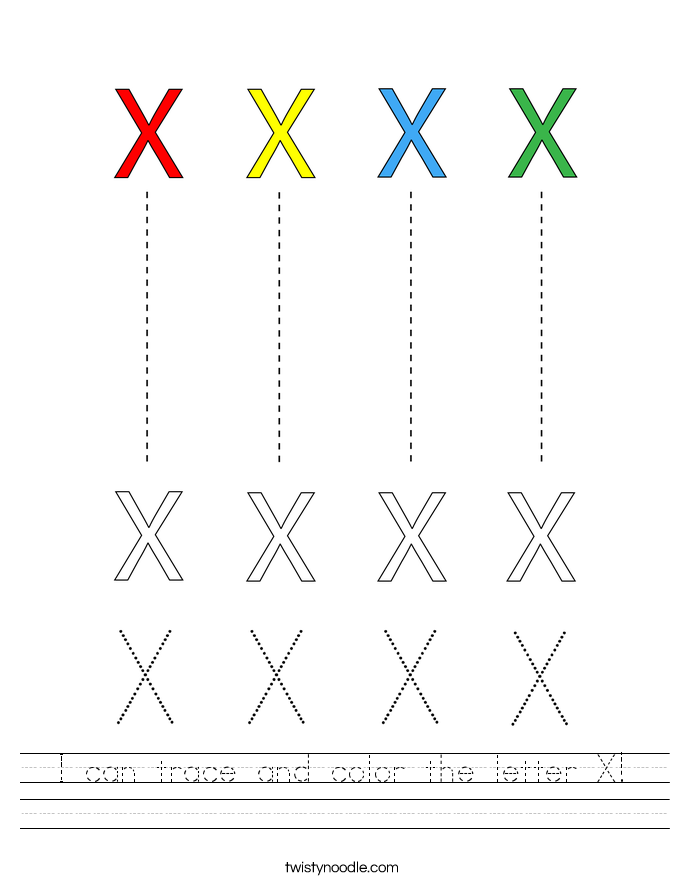 I can trace and color the letter X! Worksheet