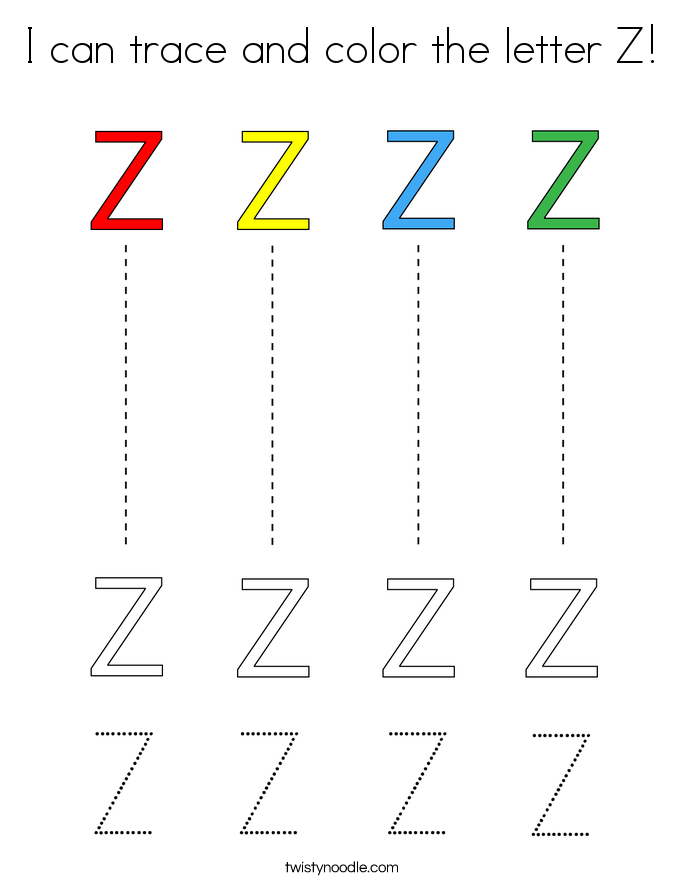 I can trace and color the letter Z! Coloring Page