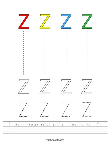 I can trace and color the letter Z! Worksheet
