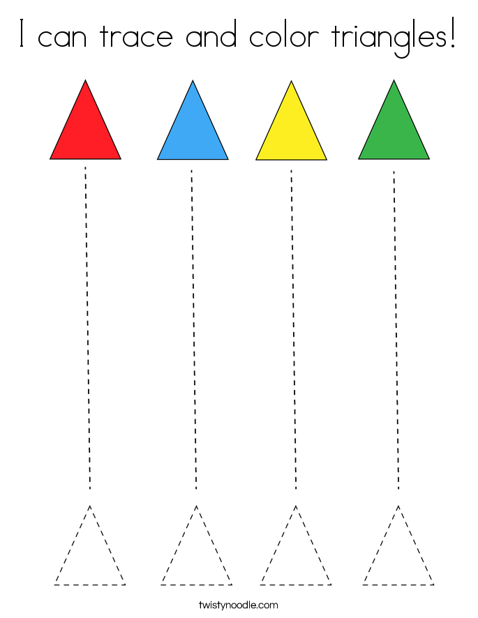 I can trace and color triangles! Coloring Page