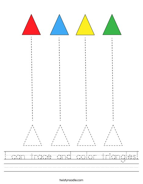 I can trace and color triangles! Worksheet