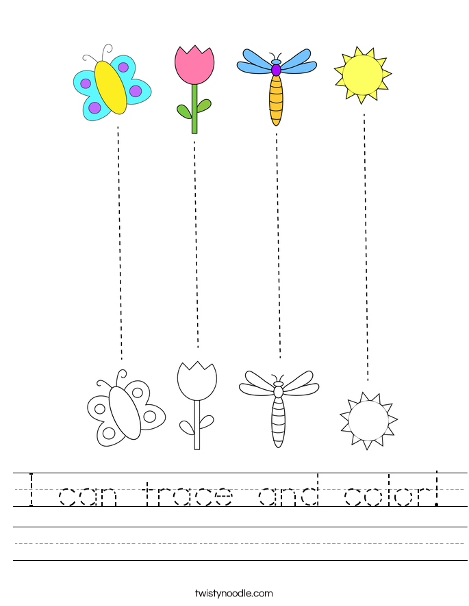 I can trace and color! Worksheet