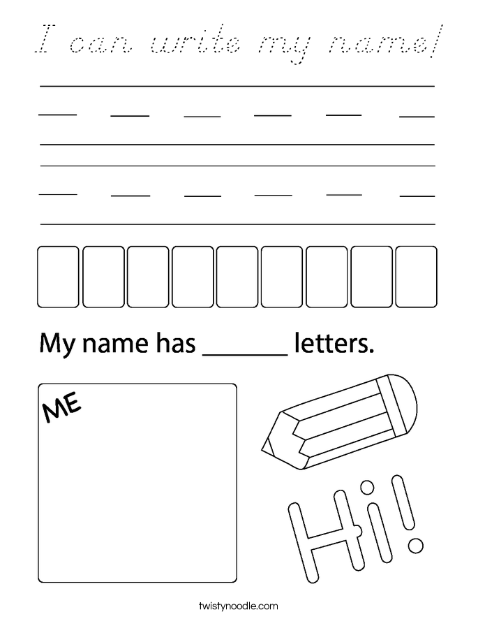 I can write my name! Coloring Page
