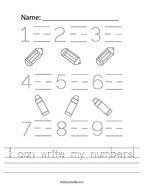 I can write my numbers Handwriting Sheet