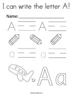 I can write the letter A Coloring Page