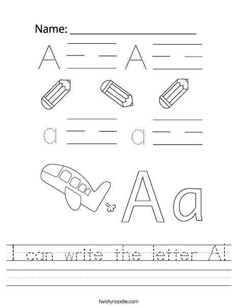 I can write the letter A! Worksheet