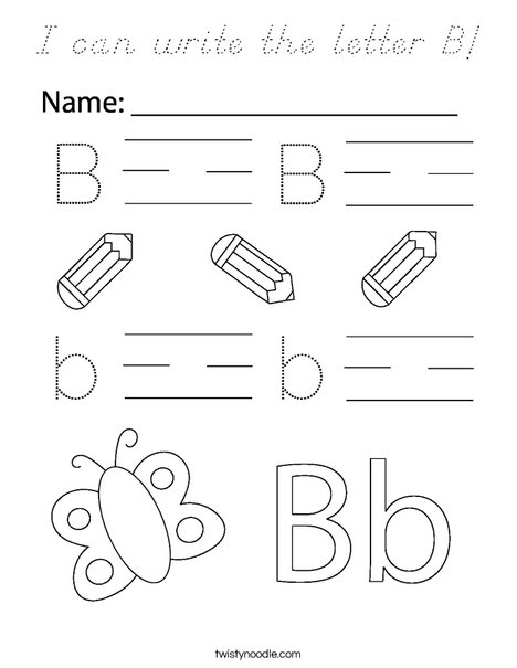 I can write the letter B! Coloring Page
