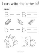 I can write the letter B Coloring Page