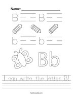 I can write the letter B Handwriting Sheet