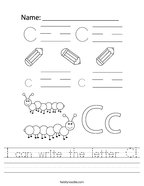 I can write the letter C Handwriting Sheet