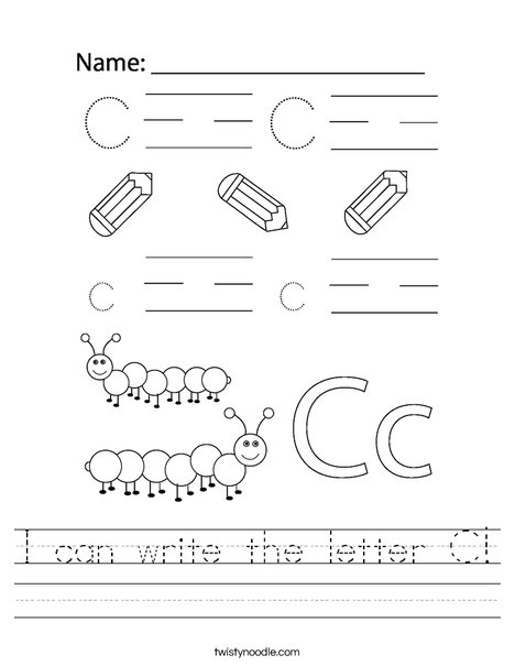 I can write the letter C! Worksheet