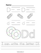 I can write the letter D Handwriting Sheet