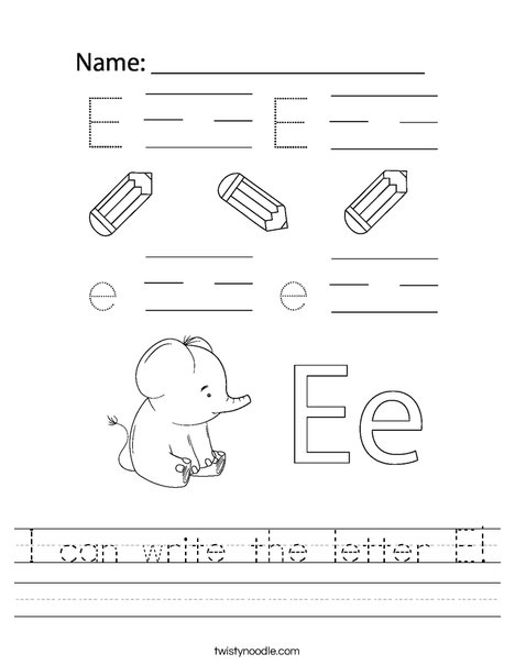 I can write the letter E! Worksheet