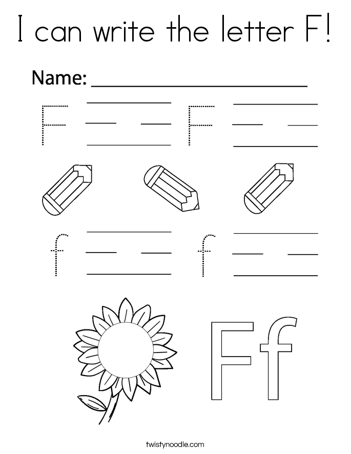I can write the letter F! Coloring Page