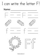 I can write the letter F Coloring Page