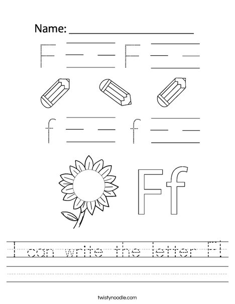 I can write the letter F! Worksheet