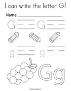 I can write the letter G Coloring Page